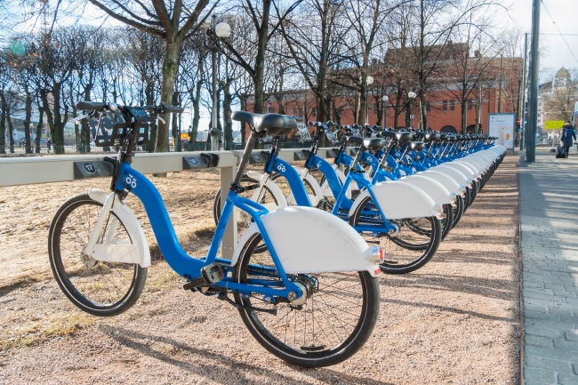 Blue City Bikes by Oslo's Central Station