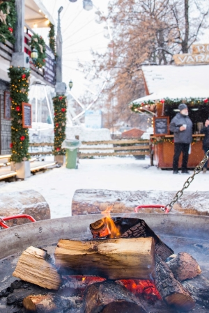 Cozy flaming firepit at Oslo Christmas market