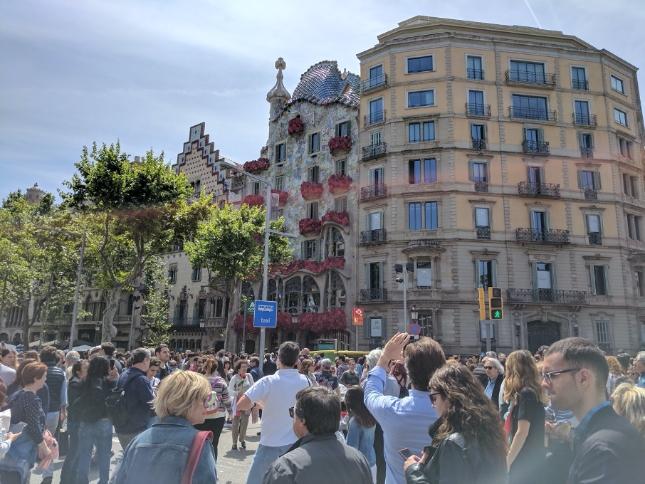 A large crowd celebrating St. Jordi's day in Barcelona