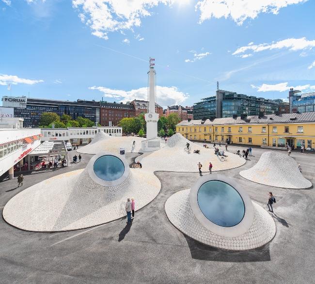 Curving exterior of art museum Amos Rex in Helsinki