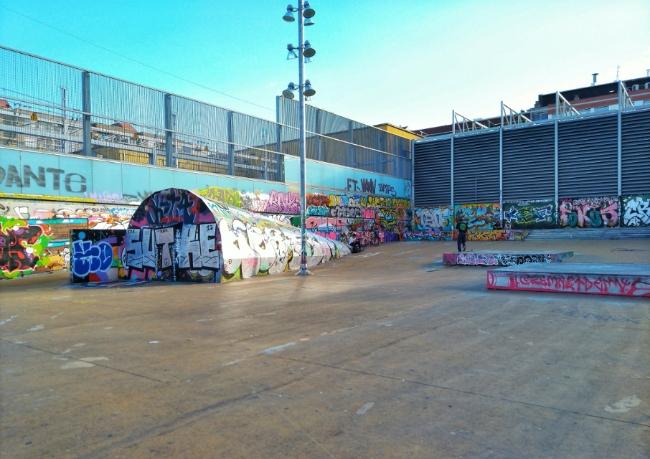 Grafitti covered Paral-lel, Barcelona's skate park near El Raval