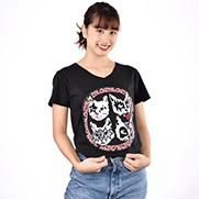 CATSS!・ステッカー風 VネックTシャツ (TRUSS)