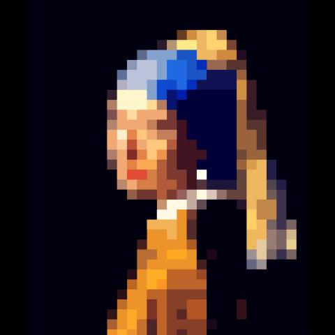美の記号の取捨・モザイク化 - フェルメールの【真珠の耳飾りの少女】