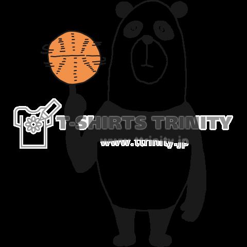 バスケットボールを回すパンダ
