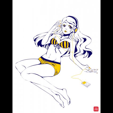 ヘッドフォン女子(紺×黄)