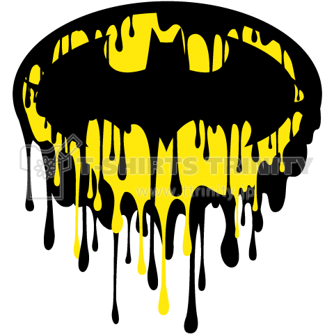DRIPPING BATMAN /インク・ペンキ・ロゴ・マーク・ストリート・音楽・music・刺青・タトゥー・可愛い・イラスト・シンプル・カラフル・模様・絵・柄・デザインTシャツ