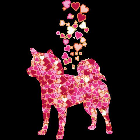 可愛いハートのふりかけ柴犬デザインTシャツ