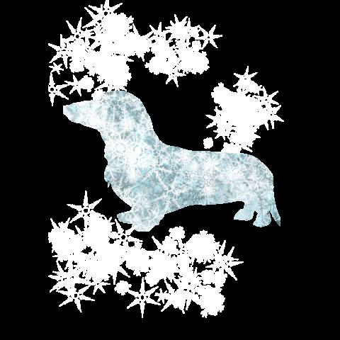 ホワイトアウト雪の結晶とダックスのTシャツ