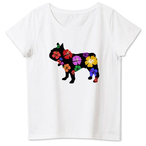南国フレブルハイビスカス柄シルエット 4.6oz Fine Fit Ladies Tshirts(DALUC)