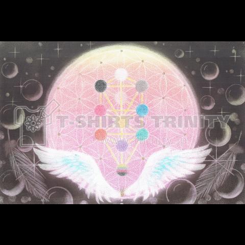 神聖幾何学模様アート・ツリー・オブ・ライフと天使の羽