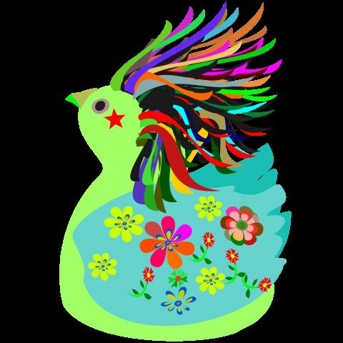 ハト 花柄