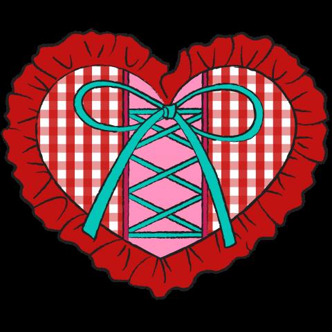 フリルの付いたギンガムチェックのハート リボンで編み上げ 赤(レッド)【珍しい個性的で可愛いオリジナルイラストTシャツ】