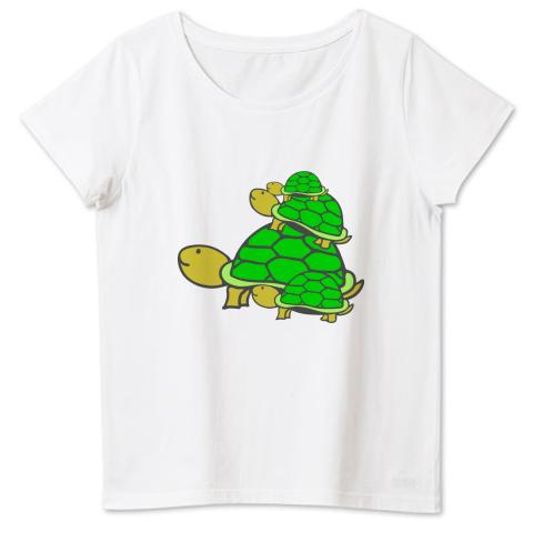 可愛い亀の親子★ 4.6oz Fine Fit Ladies Tshirts(DALUC)
