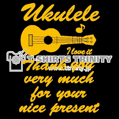 ウクレレ UKULELE 黄 文字 デザイン・楽器・弦楽器・ギター・アイテム・グッズ・イラスト・ハワイアン