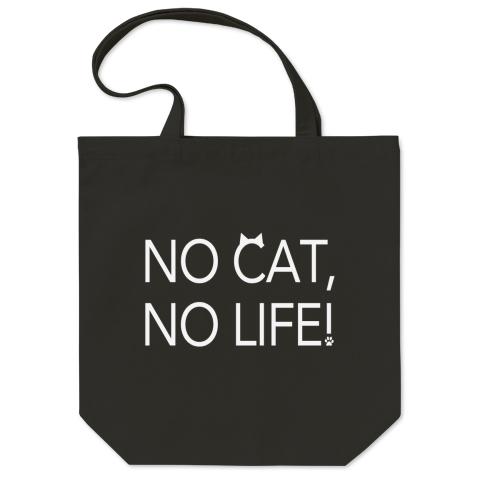 NO CAT, NO LIFE!(2Lines/White) トートバッグ Mサイズ