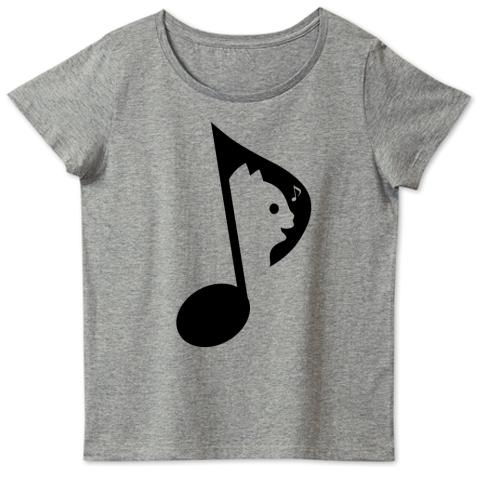 歌う猫音符(黒) 4.6oz Fine Fit Ladies Tshirts(DALUC)
