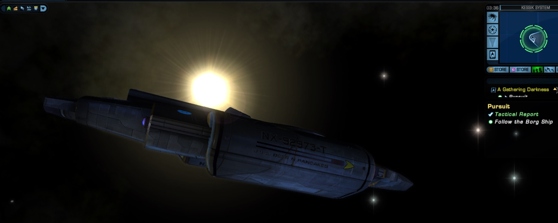 A picture of my ship in Star Trek online you may find the name familiar on the Nacelle.