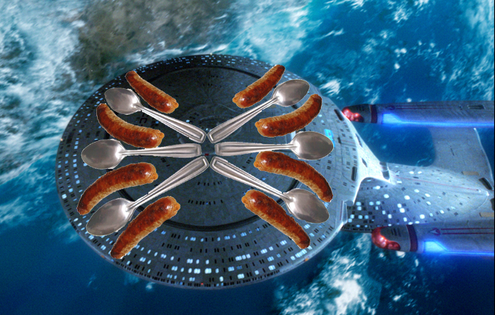 Enterprise D complete with sausages and spoon additions