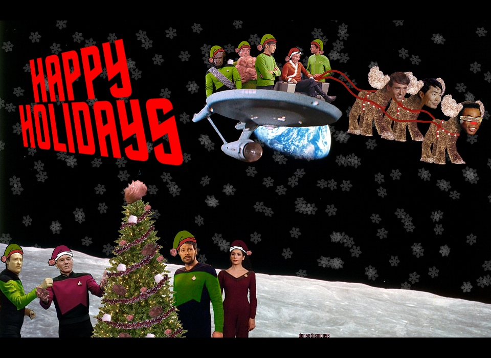 Star trek Christmas holiday collage