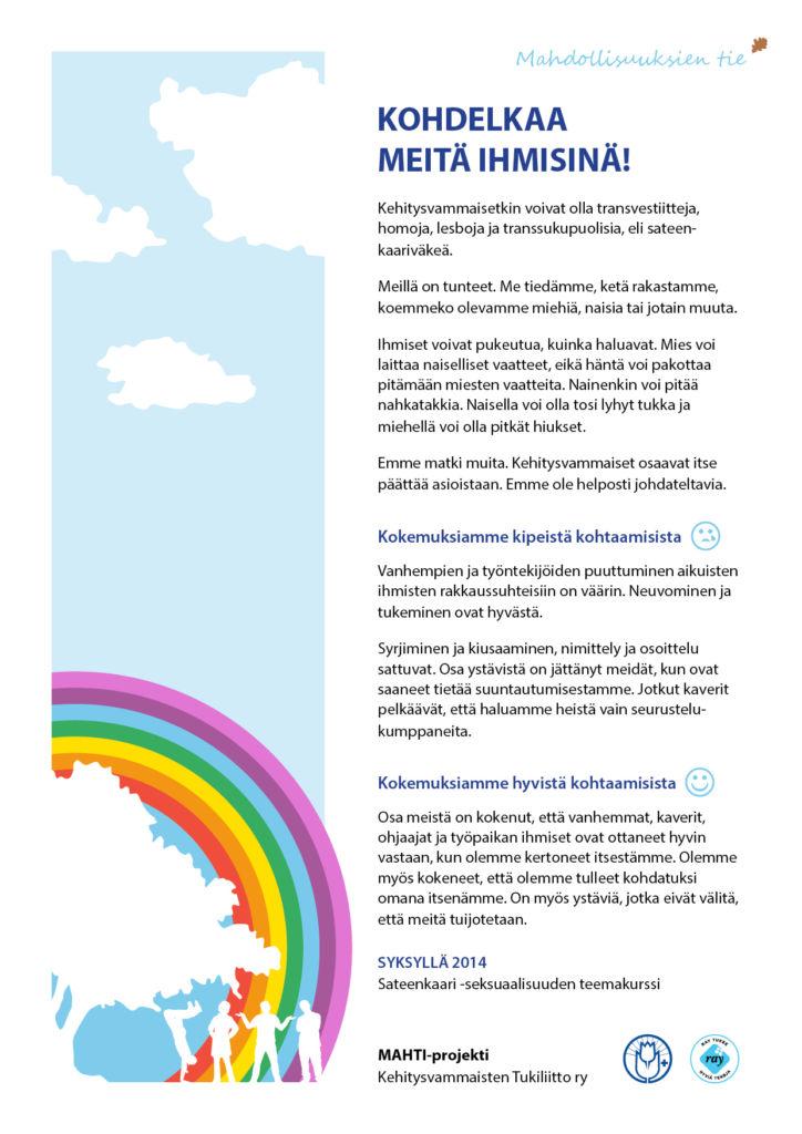 Tässä julistuksessa sukupuoli- ja seksuaalivähemmistöihin kuuluvat ihmiset kertovat mielipiteensä