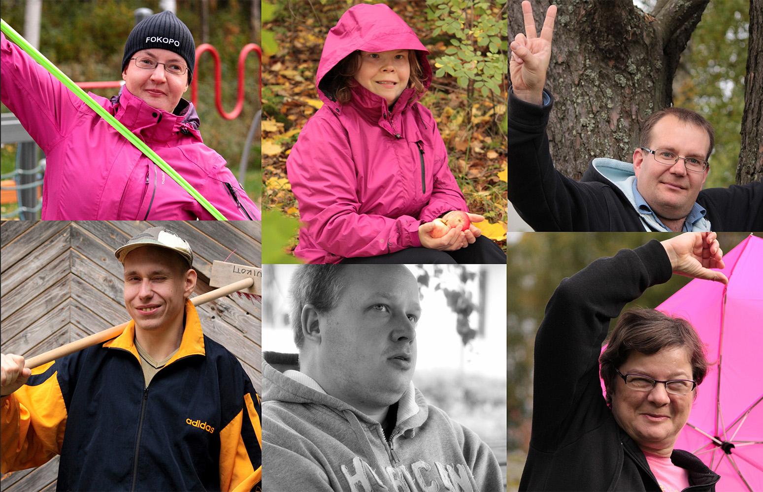 MAHTI-kurssilaiset vasemmalta ylhäältä alkaen: Aino Sarkula, Anna Kumpulainen, Jani Hirvi, Paavo Mertanen, Oskari Sievers ja Virpi Hyvärinen.