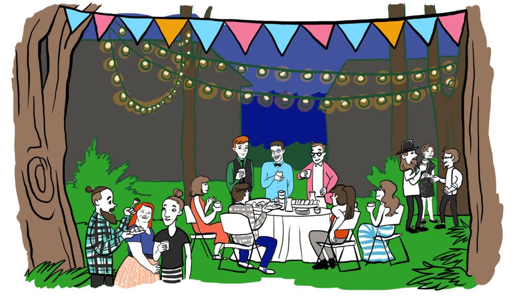 Puutarhajuhlat - aidan sisällä