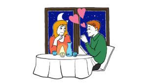 Romanttisesti ravintolassa