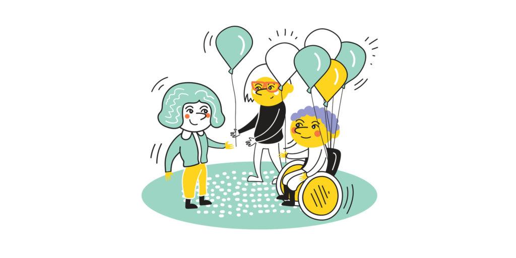 Kuvassa on kaveritoiminnan muuta vapaaehtoistoimintaa kuvaava kuva. Siinä kaksi vapaaehtoista jakaa ilmapalloja.