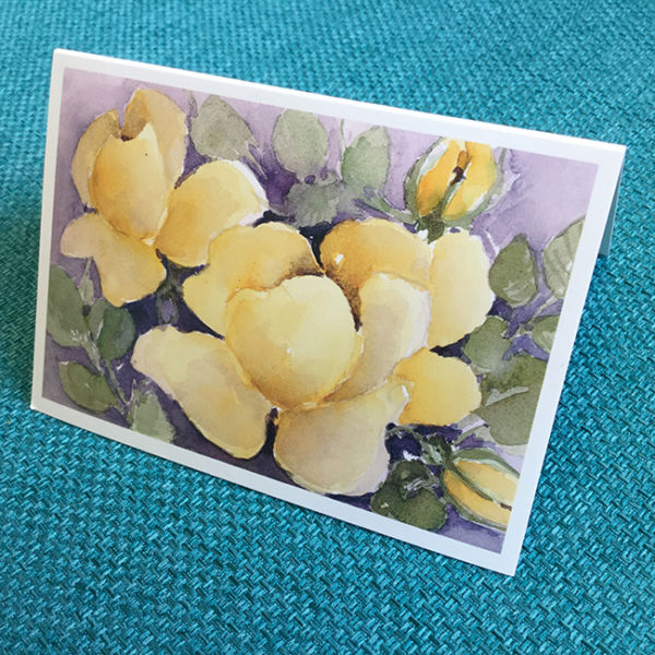 Pikkukortti Keltaiset kukat, original Anne Karlsson, sivuttain kuvattu