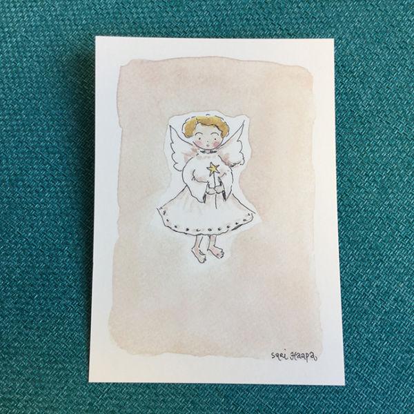Postikortti Joulun enkeli, original Sari Haapa