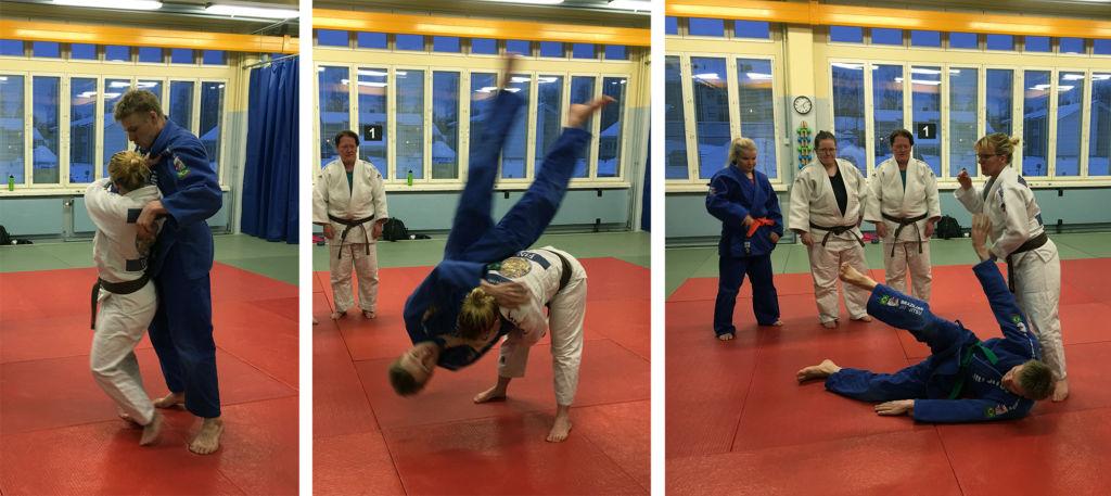 Piia Komppa heittää judotatamilla Jani Kokkosta.