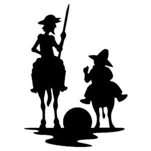 Silhuettikuva Don Quijotesta ratsun selässä, vierellä Sancho Panza