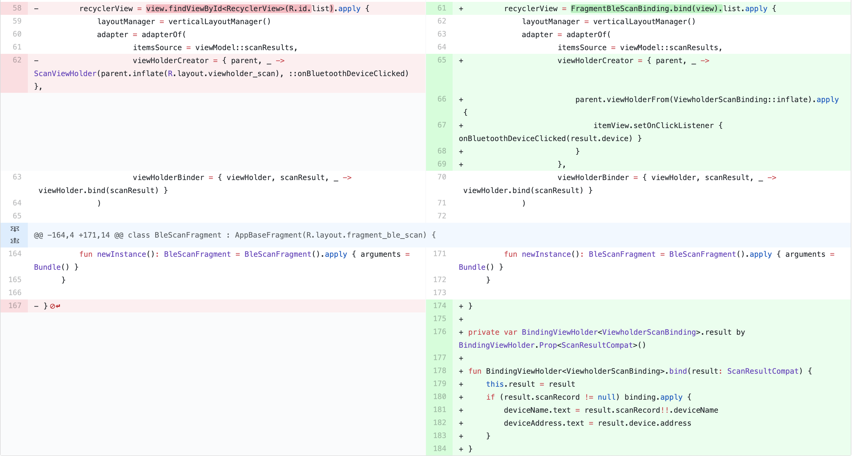 Added and changed code for BindingViewHolder and static property extension