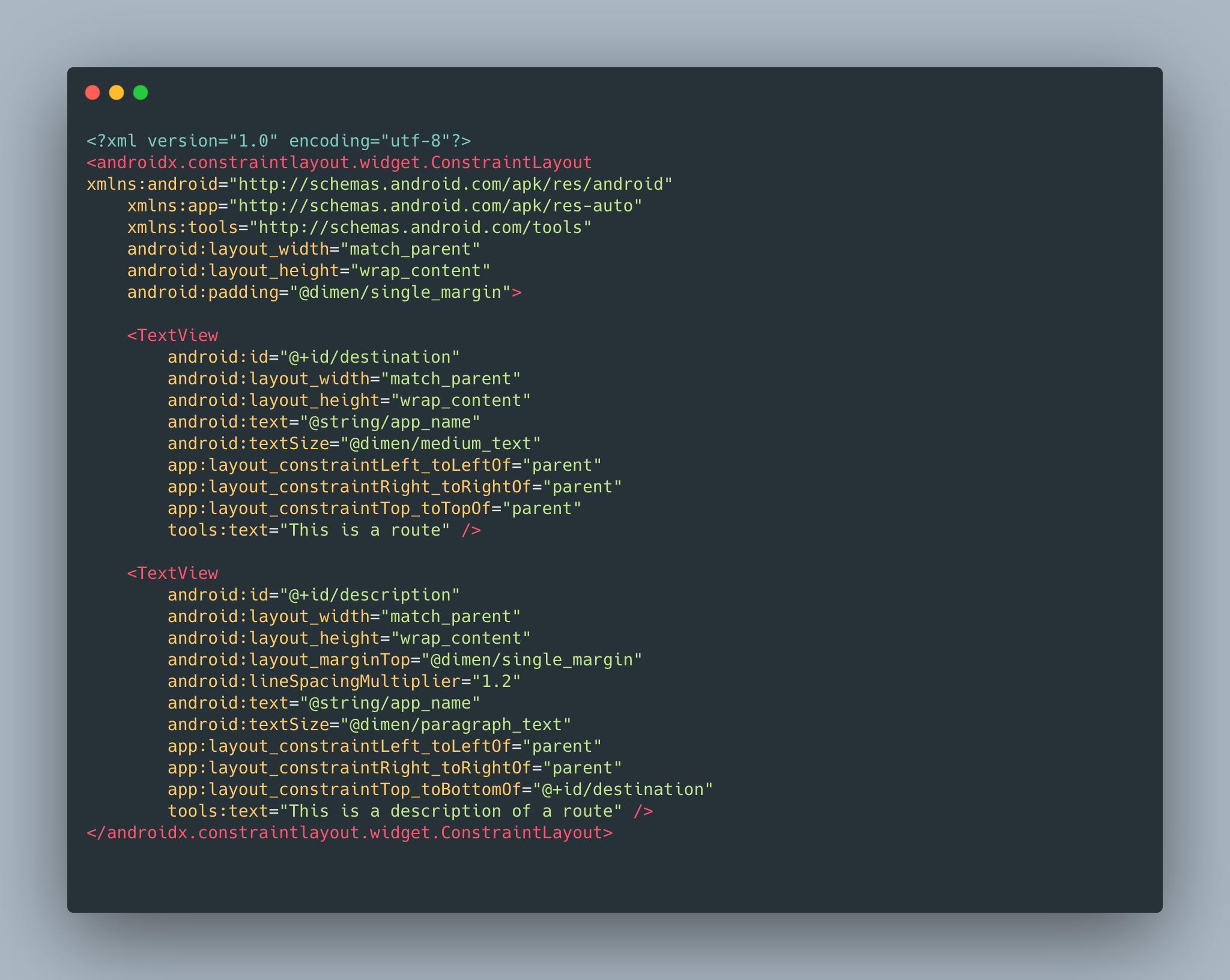 An XML view declaration