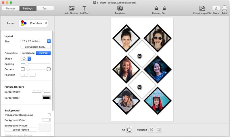 6 picture diamond collage maker, TurboCollage, screenshot