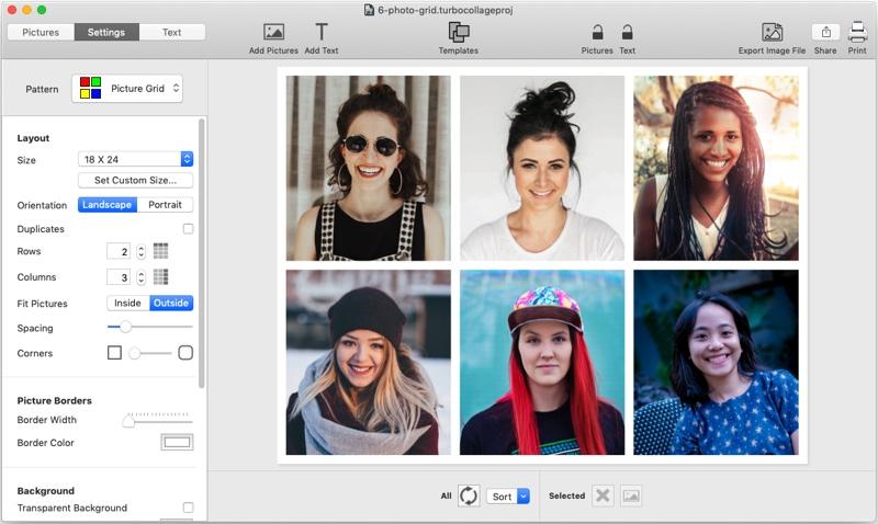 6 picture photo grid maker, TurboCollage, screenshot