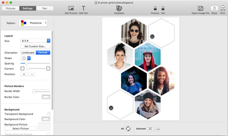 6 picture hexagon collage maker, TurboCollage, screenshot