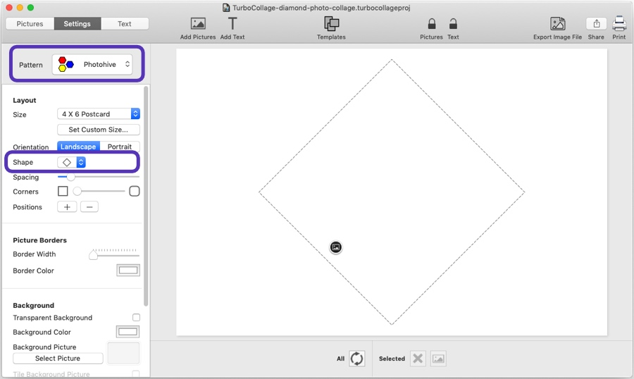 Step 1: Select Photohive Pattern and Diamond Shape