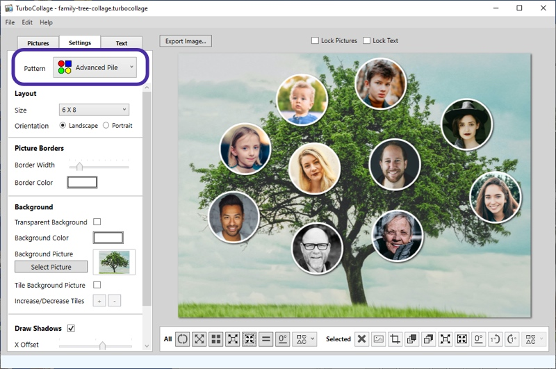 Family tree collage with circle photos screenshot