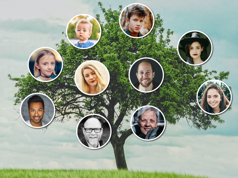 Family tree collage with circular photos