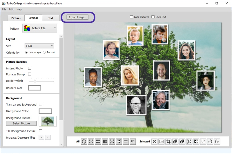 Layout family tree collage and export to JPG