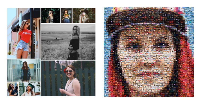 Two types of photo mosaic collage