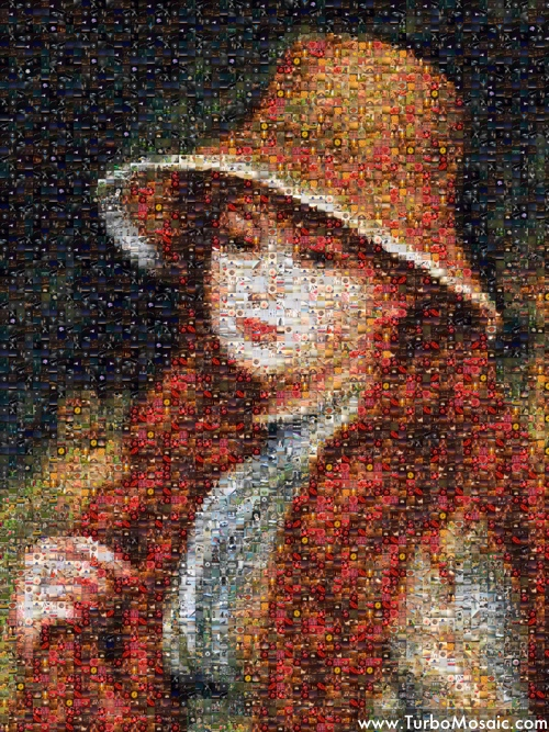 Photo Mosaic of a Painting Made Using Square Tiles