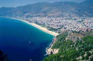 Cleopatra Beach of Alanya, from the castle