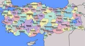 Map of the 81 provinces in Turkey