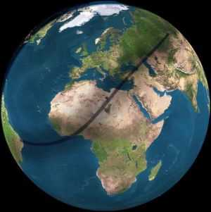 2006 Solar eclipse path on earth