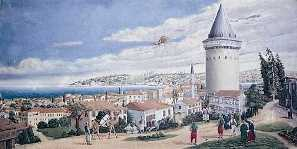 Illustration of Hezarfen Ahmet Celebi flying from the Galata Tower over Golden Horn