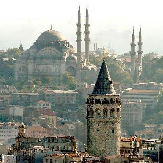 Galata Tower, with Suleymaniye Mosque in the background