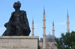 Statue of Mimar Sinan in front of his work, Selimiye Mosque