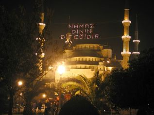 During the month of Ramazan you can see mosques decorated with religious phrases